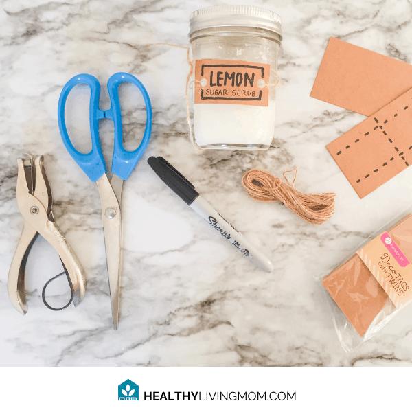 Easy Lemon Sugar Scrub DIY - Supplies for making the simple tags.