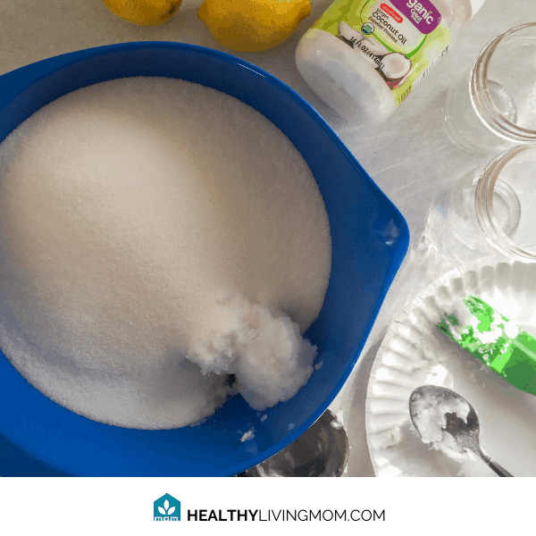 Lemon Sugar Scrub - Step 1 - Pour sugar and scoop coconut oil into a mixing bowl.